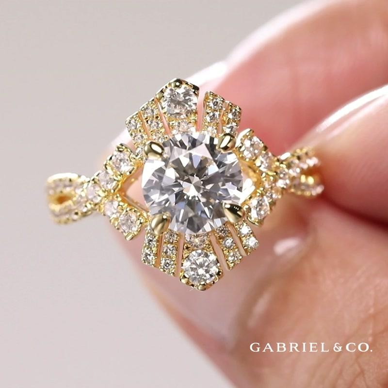 18K Yellow Gold Twisted Round Diamond Engagement Ring