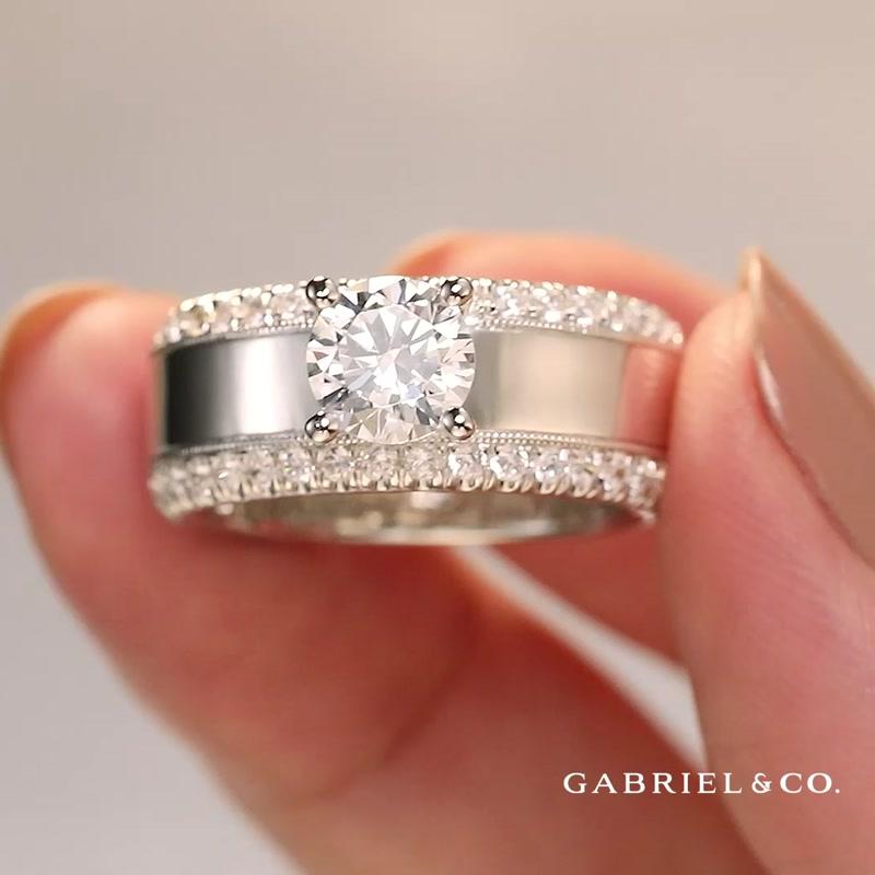 14K White Gold Round Diamond Wide Band Engagement Ring
