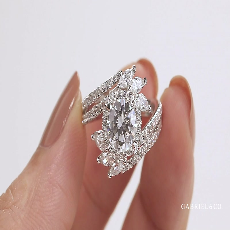 14K White Gold Round Halo Diamond Bypass Engagement Ring