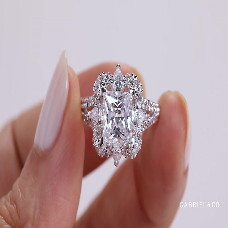 Art Deco 14K White Gold Fancy Halo Princess Cut Diamond Engagement Ring